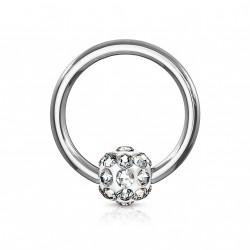 Piercing anneau 8 x 1,2mm avec boule en crystal blanc Wasuk ANN100