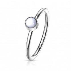 Piercing anneau acier 0,8 X 8mm en époxy blanc Lyw NEZ171