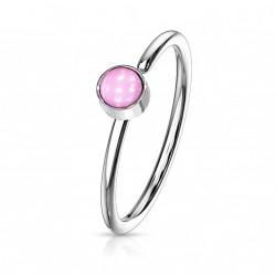 Piercing anneau acier 0,8 X 8mm en époxy rose Koxa NEZ171