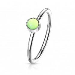 Piercing anneau acier 0,8 X 8mm en époxy vert Haco NEZ171