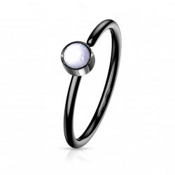 Piercing anneau noir 0,8 X 8mm en époxy blanc Saxu NEZ171