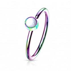 Piercing anneau arc en ciel 0,8 X 8mm en époxy blanc Sunox NEZ171