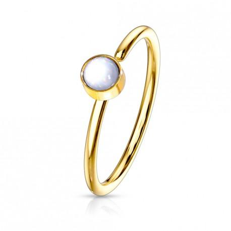 Piercing anneau doré 0,8 X 8mm en époxy blanc Sixa NEZ171