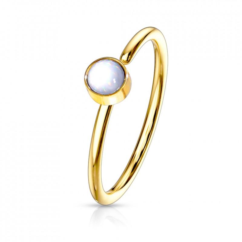 Piercing anneau doré 0,8 X 8mm en époxy blanc Sixa Piercing nez3,35€