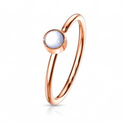 Piercing anneau or rose 0,8 X 8mm en époxy blanc Gaqy NEZ171