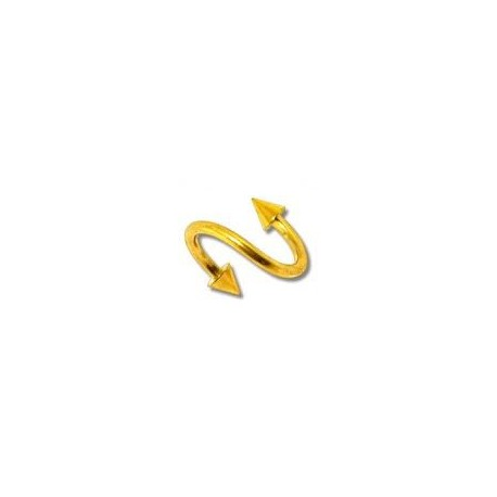 Piercing spirale 8mm doré avec pointes Jirut SPI004