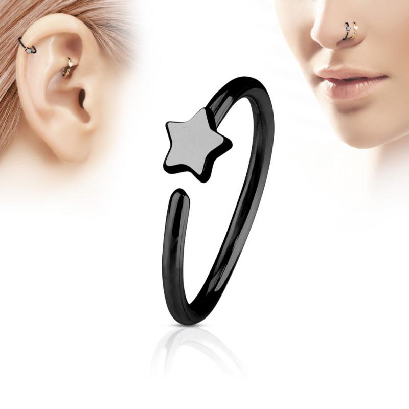 Piercing anneau noir 8mm avec une étoile Wax Piercing nez3,80€