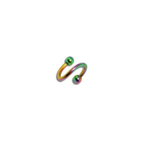 Piercing spirale 8mm arc en ciel avec boules Klun Piercing oreille4,49€