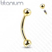Piercing arcade titanium 8mm doré et boules avec crystals blanc Vady Piercing arcade5,95€