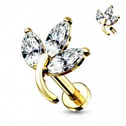 Piercing labret doré 6mm style feuille avec zirconiums blanc Qyko Piercing labret4,80€
