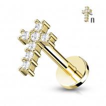 Piercing labret doré de 6mm en forme de croix Biked Piercing labret4,60€