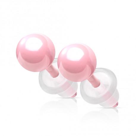 Puces d'oreilles boules rose en céramique Hery Bijoux4,80€