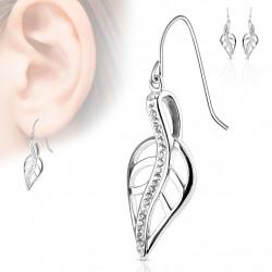 Boucle d'oreille avec une feuille avec zirconium blanc Duko Bijoux10,49€