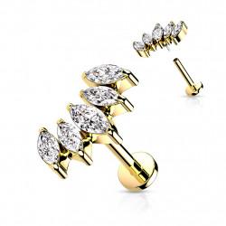 Piercing labret doré 6mm avec cinq zirconiums blanc Fasax Piercing labret4,99€