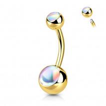 Piercing nombril boule doré avec pierres blanche Lixe Piercing nombril4,95€