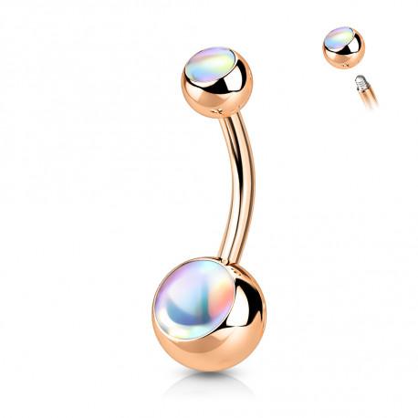 Piercing nombril boule or rose avec pierres blanche Lazy Piercing nombril4,95€