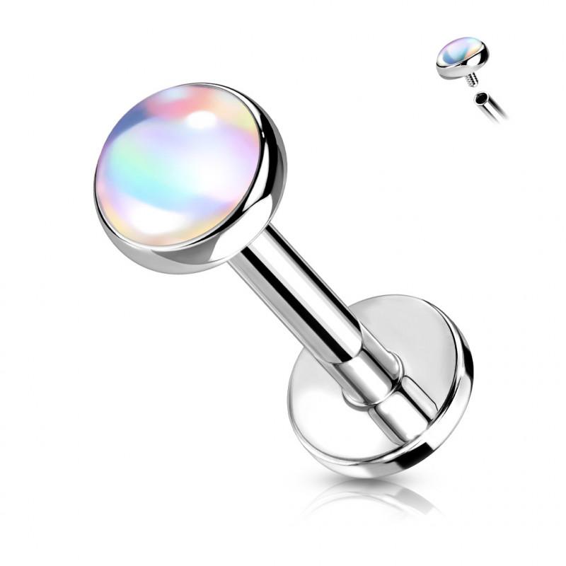 Piercing labret de 8mm avec une pierre blanche Zafu Piercing labret3,49€