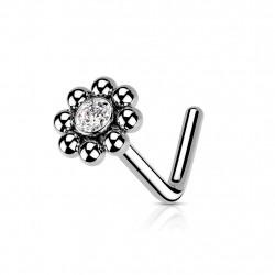 Piercing nez coudé avec une fleur et un cœur en zirconium Dax Piercing nez2,49€