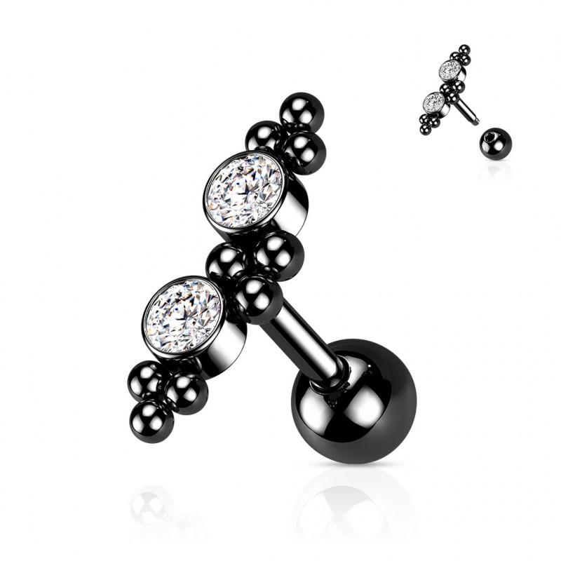Piercing Tragus noir avec boules et zirconiums Fiku Piercing oreille4,60€