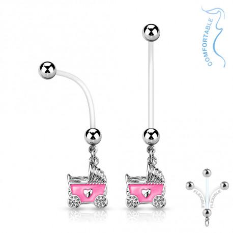 Piercing nombril grossesse poussette de bébé rose Tyjo Piercing nombril5,99€