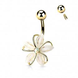 Piercing nombril doré avec une fleur en zirconiums blanc Xyki Piercing nombril8,65€