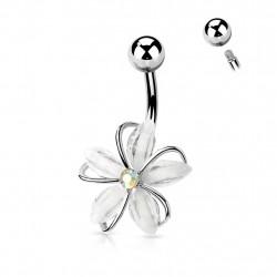 Piercing nombril avec une fleur en zirconiums blanc Gacok Piercing nombril8,65€