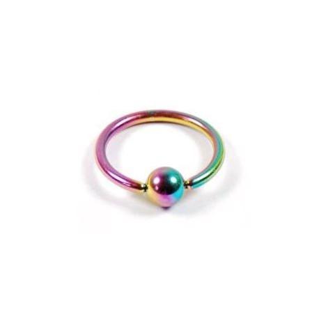 Piercing anneau 8 x 1,2mm arc en ciel avec boule Gying Piercing oreille3,85€