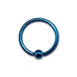 Piercing anneau 8 x 1,2mm bleu avec boule Komol ANN001