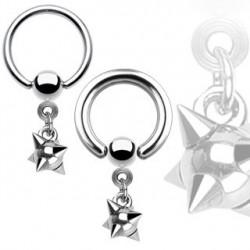 Piercing anneau 12 x 1,6mm boule à pointes Chy ANN002