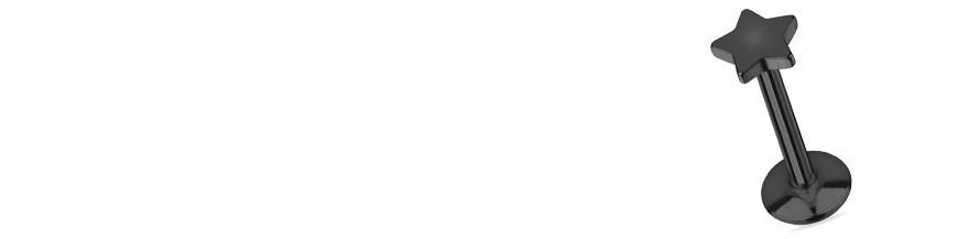 Piercing labret étoile en zirconium blanc ou logo en étoile noire.