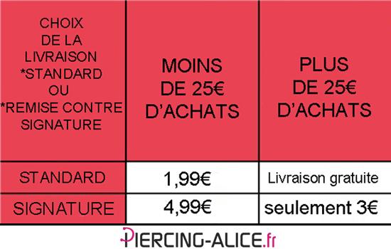 tarifs de livraison Piercings et Bijoux